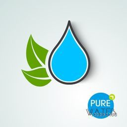 Stylish World Water Day sticker, tag or label with creative green leaf and text Pure Water on sky blue background.