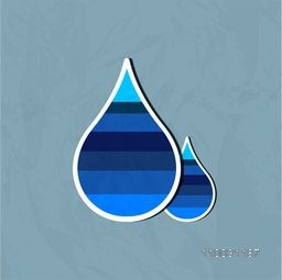 Sticker, tag or label with water drop on grungy background for World Water Day concept.
