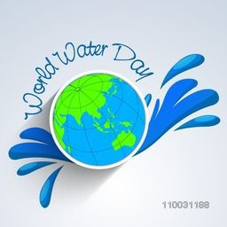 Stylish creative globe with water for World Water Day concept, Can be used as sticker, tag or label.