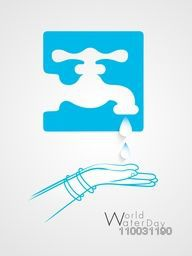 World Water Day concept with creative stylish illustration of lady protecting water on grey background.