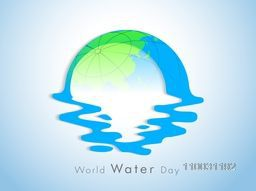World Water Day concept with globe and water on blue background, can be use as flyer, banner or poster.