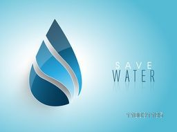 Creative glossy water drop on shiny sky blue background for World Water Day concept.