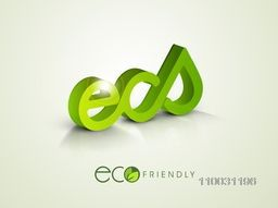 Glossy 3D creative green text Eco for World Environment Day concept.