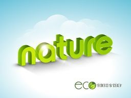 3D green glossy text Nature on cloudy sky blue background for World Environment Day concept.