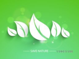 Creative paper cutout of leaves on shiny green background for World Environment Day concept.