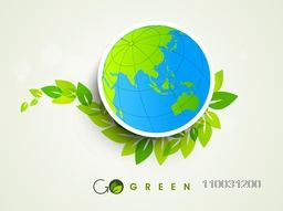 Sticker, tag or label of world globe with fresh green leaves for World Environment Day concept.