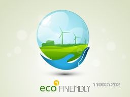 Illustration of a human hand protecting and holding nature sphere for world Environment Day concept on shiny background.