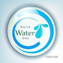 Glossy stylish sticker, tag or label for World Water Day concept on shiny sky blue background.
