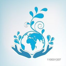 Creative illustration of a human hand protecting floral decorated globe on sky blue background.