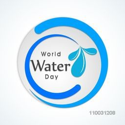Stylish sticker, tag or label with text World Water Day on shiny background.