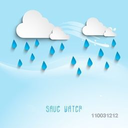 Creative stickers or tags in clouds shape with water drop on sky blue background for World Water Day concept.