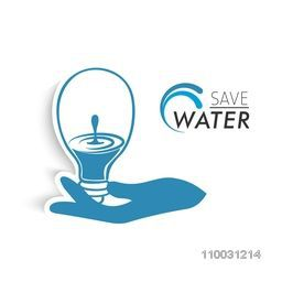 Illustration of a human holding a bulb, Which is full of water on white background for World Water Day concept.