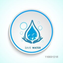 Stylish sticker, tag or label with illustration of human protect water drop for World Water Day concept.