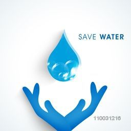 World Water Day concept with human hand protect water drop for save water on white background.