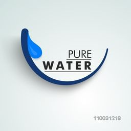 World Water Day concept with stylish text Pure Water with water drop on sky blue background.