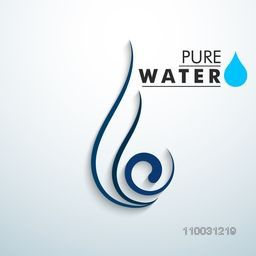 Creative floral save water drop design on sky blue background for World Water Day concept.