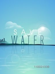 Stylish text Save Water with view of a sea for World Water Day concept.