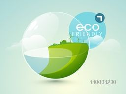 World water day concept with nature in sphere on cloudy sky blue background.