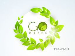 Stylish sticker, tag or label with text Go Green and fresh green glossy leaves on sky blue background for World Environment Day concept.