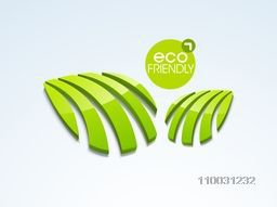 Stylish text Eco Friendly with glossy creative 3D leaves for World Environment Day concept on sky blue background.