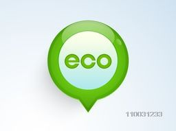 Stylish text Eco on glossy green map pointer for World Environment Day concept.