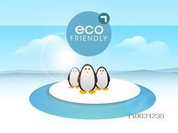 World Water Day concept with illustration of penguin on ice.
