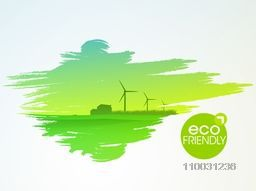 Save Ecology concept with illustration of fresh nature background and text Eco Friendly on tag.