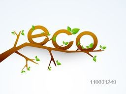 Stylish text Eco with leaves on tree branch for World Environment Day concept.