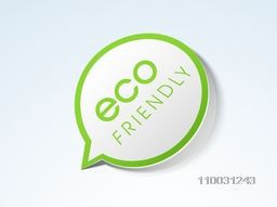 Glossy Eco Friendly tag, sticker or label on sky blue background for World Environment Day concept.
