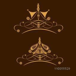 Set of two stylish creative crown design on brown background.
