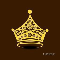 Golden stylish crown design on brown background.