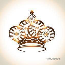 Creative beautiful shiny crown design on stylish background.