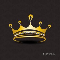 Golden crown with diamond on seamless dark brown background.