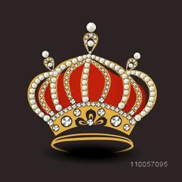 Stylish crown decorative by pearl and diamond on dark brown background.