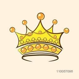 Creative beautiful crown design isolated on beige background.
