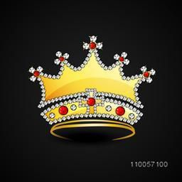 Golden crown decorative with jewel on back background.