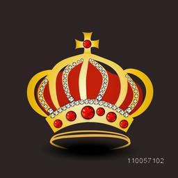 Golden stylish royal crown decorative with jewel on dark brown background.