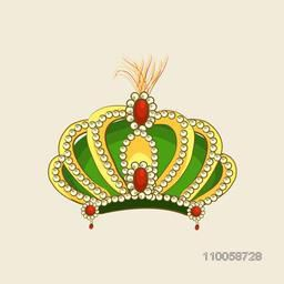 Creative golden crown with jewel and green velvet isolated on beige background.