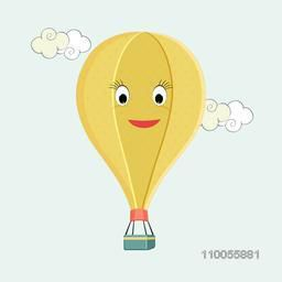 Flying hot air balloon with cartoon face on sky blue background.