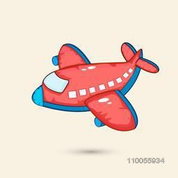 Right side view of a red flying airplane transport toy.