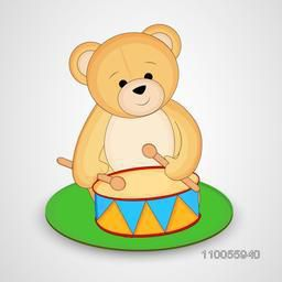 A bear sit and ringing drum on meadow in circle shape on shiny grey and silver colour background.