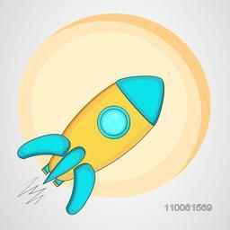 Kiddish style rocket with blank circle frame on shiny grey background.