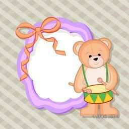 Stylish decorated blank frame and bear with ringing drum on seamless background.