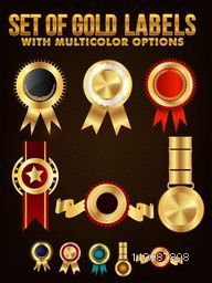 Set of Gold Labels, Badges or Medals with Multicolor Options.
