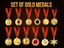 Set of Gold Medals, Vector Realistic Collection.