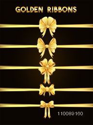 Collection of elegant decorative golden ribbons.