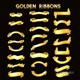 Big set of elegant golden ribbons, premium collection.