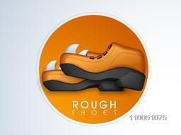 Sticker, tag or label with shoe and stylish text of Rough Shoes on stylish background.