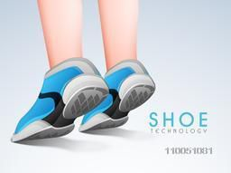 Creative Sports Shoes on shiny background.