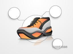 Creative Sports Shoe isolated on shiny grey background.